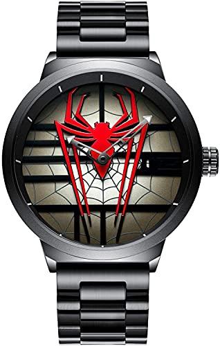 QHG Reloj de la araña de los Hombres de Lujo Reloj de Cuarzo de Acero Inoxidable Reloj de Pulsera de Cara Grande Hueco Impermeable Impermeable Relojes de Pulsera Informal (Color : Red)
