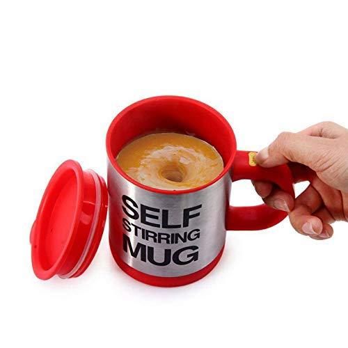 Zeerkeer Taza de Mezcla Automática de Acero Inoxidable 400ML Mezcla de Tazas de Café Automática, Taza de Auto-agitación para el Café/Leche/Té, etc. (Rojo)…