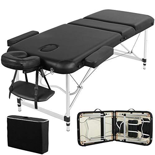 Yaheetech mobile Massageliege klappbare Therapieliege tragbares Massagebett leichter Massagetisch 3 Zonen Ergonomischer Kopfstütze Tragetasche Einfache Installation 213 x 70 cm