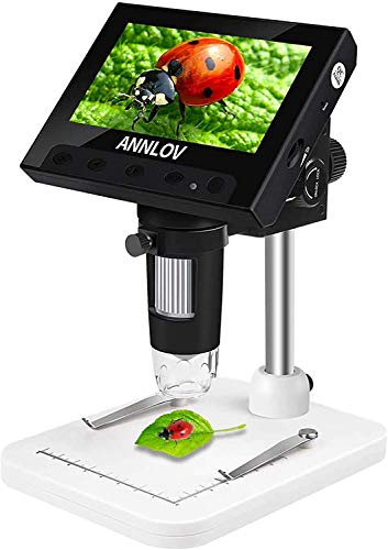 4.3 Inch Coin Microscope,ANNLOV 50X-1000X Magnification LCD Digital Microscope with 8 Adjustable LED Lights for Kids and Adults for Coin/Stamps/Plants/Soldering