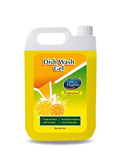 Care And Hygiene Dishwash Gel, 5 Litres Economy Pack, Yellow, Powerful Cleaner Dish Wash Liquid Which Washes Utensils Easily (Pack of 1)