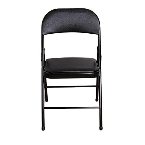 GHM Chaise de Camping Chaise Pliante de ménage à Manger Chaise Ordinateur canapé Bureau Chaise de Bureau avec Dossier en Cuir éponge Pad Chaise (Couleur : Noir)