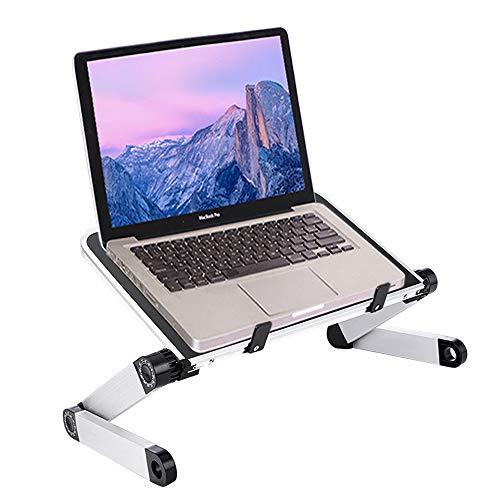 Mesa Ordenador Portatil Plegable, 360° Adjustable Laptop Stand Mesa para Lectura, Soporte Portátil Aluminio para Notebook PC Laptop Ordenador, Mesa Bandeja Ordenador Portatil para Sofa Cama(Negro)
