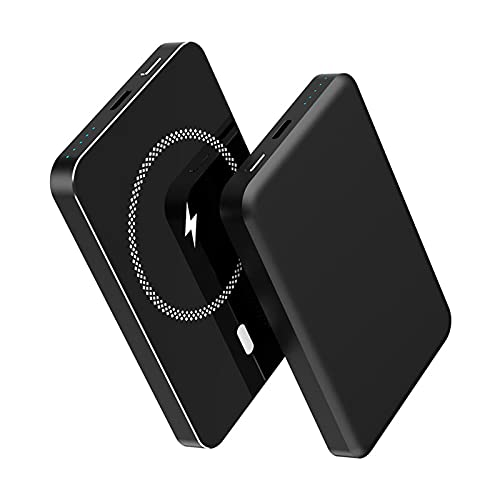 Banco magnético portátil de energía 5000 mAh, cargador inalámbrico Express de 15 W, 20 W Pd tipo C USB batería externa, compatible con iPhone 12/12 Mini/Pro/Max (Negro)