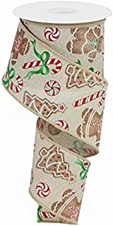 Gingerbread with Candy Canvas Wired Edge Ribbon - 10 Yards (Light Natural, 2.5