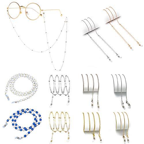 VEGCOO - 10 cadenas de gafas con cordón, 60 – 75 cm de longitud, con 2 anillas antideslizantes de silicona, apto para gafas de sol, gafas de lectura/gafas Oro + Argento(10 Pcs) M