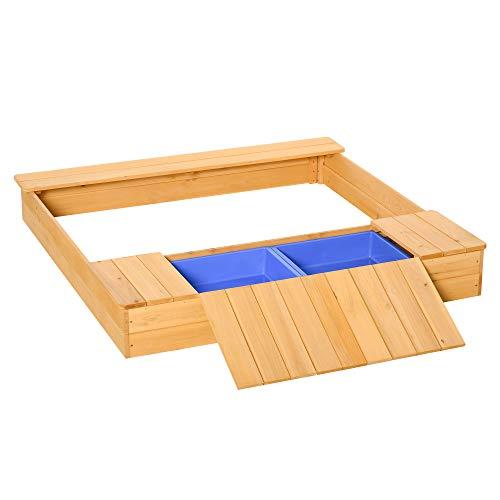 Outsunny Sandkasten Staubdichte Holzsandkasten mit 2 Aufbewahrungsbox 3-6 Jahren Natur+Blau 125 x 121 x 17,5 cm