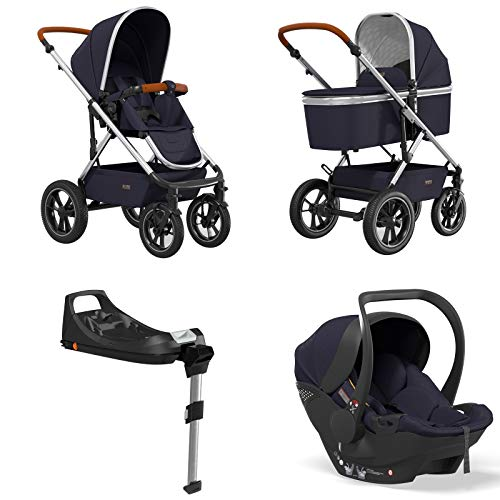 Moon Kombi Kinderwagen NUOVA AIR inklusive Babyschale Moon Plus1 und Isofix-Base navy