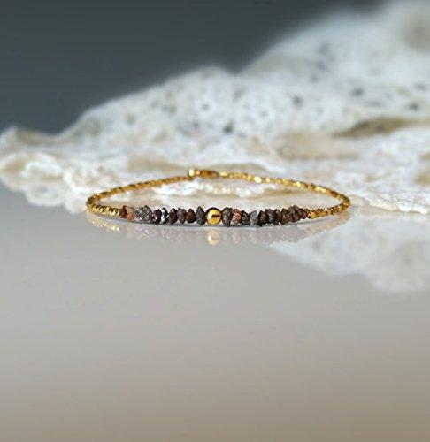 LOVEKUSH Pulsera de cuentas vermeil de oro y diamantes rojos raros, naturales, sin tratamiento, gemas ásperas sin cortar, delicada pulsera rústica de 3 mm, código WAR6662