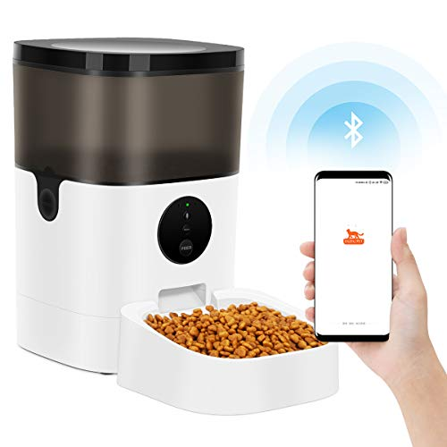 TTPet Automatic Cat Feeder with App Control, Timed Dog Food Dispenser, 4L Capacity, Bluetooth Enabled, Portion Control, Voice Recording, Timer Programmable up to 8 Meals a Day