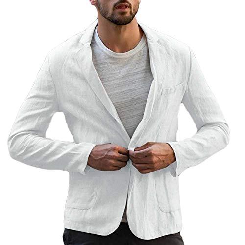 Keepmore Blazer de algodón de Lino Vintage para Hombre, diseñador Italiano Informal Chaqueta de Abrigo de Traje Slim fit