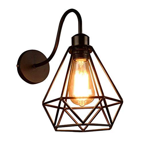 BXU-BG Techo Negro Industrial luces pared de la vendimia diamante jaula de metal ligero apliques accesorio retro adorna la cubierta de estar Cocina (no contiene bombillas) lámpara brillante
