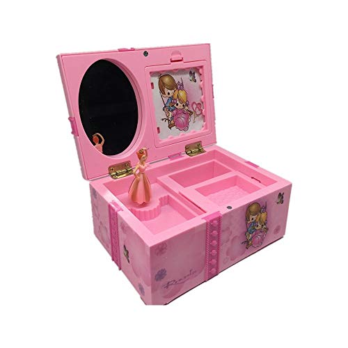 XHGFD Dream Girl Caja de música Caja de joyería Musical para niños Rectángulo con Bailarina Rosa Caja de música Alicia en el país de Las Maravillas Joyero