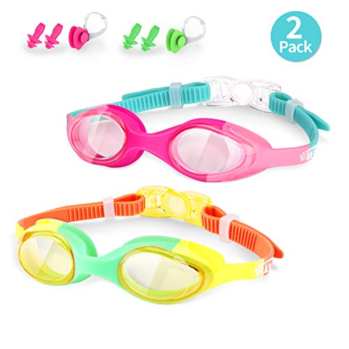 WOTEK Swimming Goggles Kids Anti-Fog No Leaking Kids Swim Goggles UV Protection with Earplug and Nose Clip Clear Swim Goggles for Kids(Age 5-15) 2 Pack(Pink and Green)