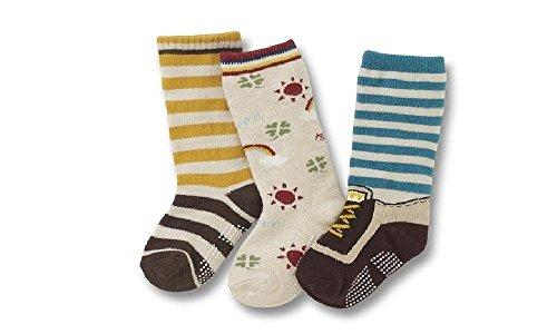 Colourful Baby World Lot de 3 paires de chaussettes pour bébés et jeunes enfants, garçons, à rayures Sunny Baseball, (âge 1, 2, 3, 4, 5, 6 et 7 ans) - - 12-18 mois
