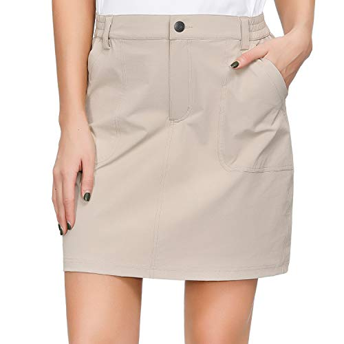 Libin Women's Outdoor Skort Golf Skort Casual Skort Skirt with 4 Zip Pockets, UPF 50+, Quick Dry, Stretch, Khaki XL