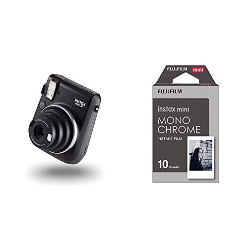 instax mini 70 camera with 10 shots, Midnight Black & Monochrome Mini Film, 10 Shot Pack