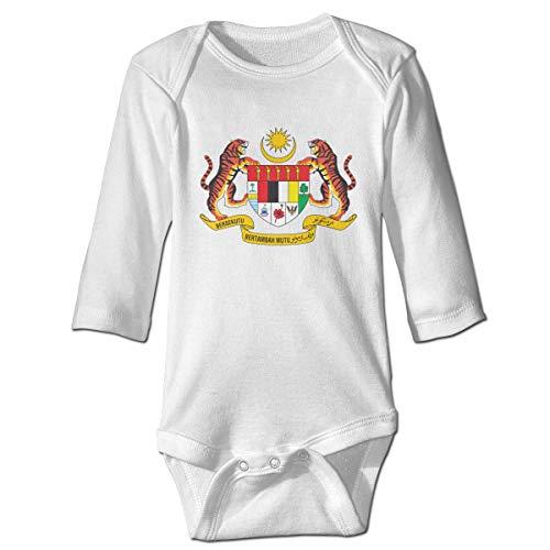 National Emblem of Malaysia Unisex Baby Bodysuit Infant Cotton Outfits Long Sleeve Jumpsuit White