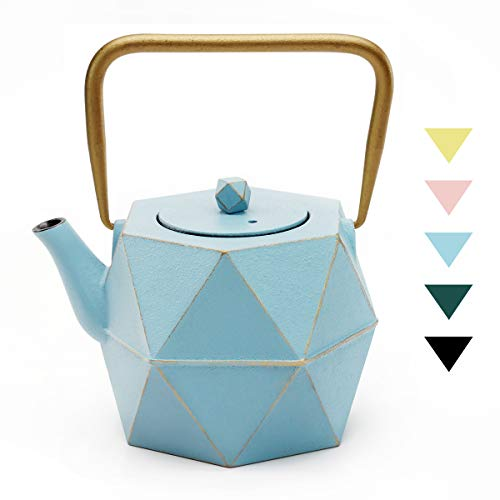 Tea Kettle TOPTIER Japanese Cast Iron Tea Kettle with Infuser Stovetop Safe Cast Iron Tea Kettle Diamond Design Cast Iron Teapot Coated with Enameled Interior for 30 oz 900 ml Blue