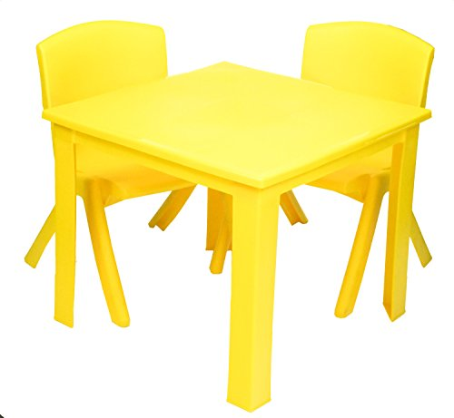 e2e Kids Children Plastic Home Garden Folding Foldable Table & Stackable Chair Set (Yellow Table & 2 Chairs Set)