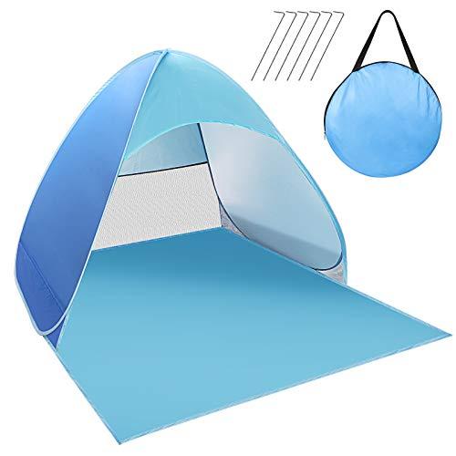 Zorara Pop Up Strandzelt, Strandmuschel Wurfzelt UV Schutz für 2-3 Personen, Popup strandmuschel Beach Zelt für Familie, Strand, Garten, Camping (Blau)