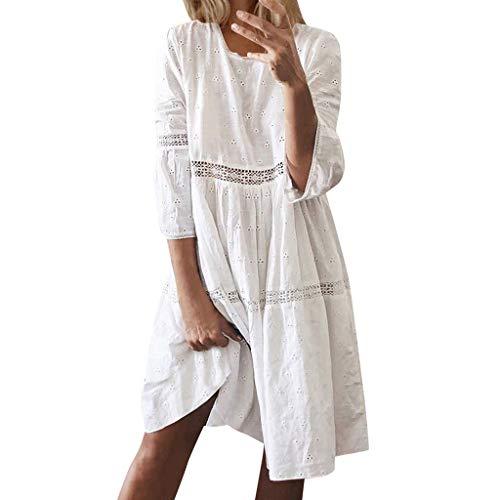 Sannysis Damen Sommerkleider Einfarbig Strandkleider Kurzarm Casual A-Linie Kleid Strandponcho Bikini Cover Up Tunika Kleider Knielang (L, Weiß)
