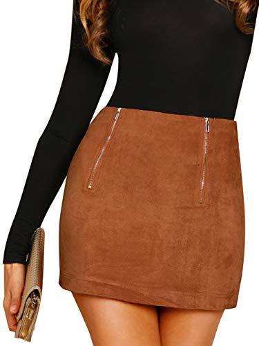 Floerns Women's High Waist Faux Suede Bodycon Pencil Mini Skirt A Brown L