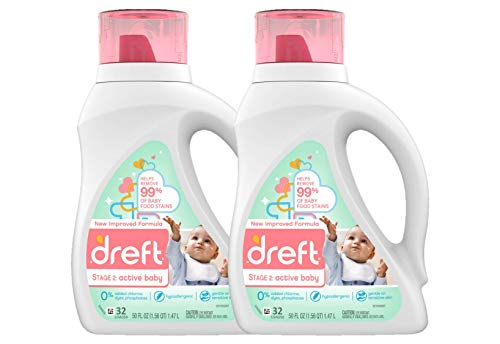Image of Dreft Stage 2: Active Hypoallergenic Liquid Baby Laundry Detergent for Baby, Newborn, or Infant, 50 Ounces(32 Loads), 2 Count (Packaging May Vary)