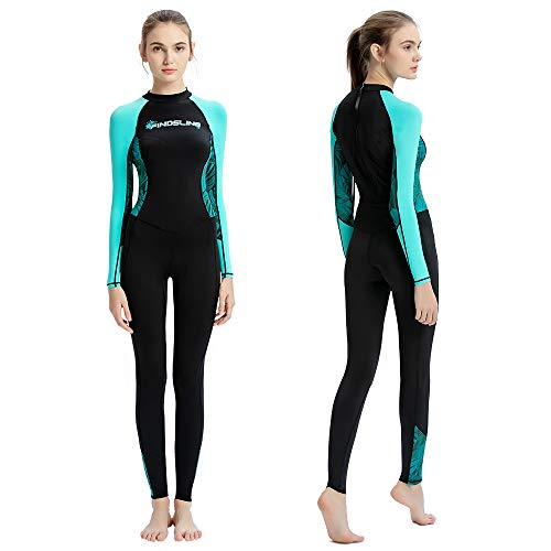Dive Skins Full Body Swimsuit Wetsuit Scuba Rash Guard Diving Suit for Women Men Adult, Long Sleeve Swimwear One Piece UV Protection Quick Dry Sunsuit for Surfing Snorkeling Kayaking (Black, M)
