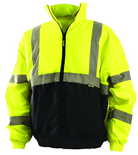 OccuNomix LUX-250-JB-BYXL High Visibility Quilted Black Bottom Bomber Jacket with 2 Front Pockets, Class 3, 100% ANSI Polyester, X-Large, Yellow