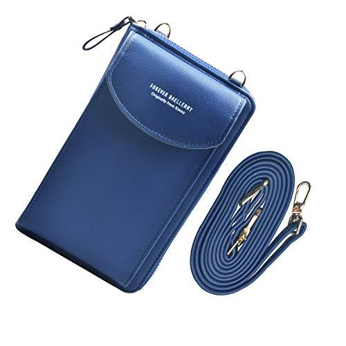 Jangostor kleine Crossbody Tasche Handy - Tasche Brieftasche mit Credit Card Slots für Frauen (Blue)