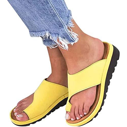 Chancletas Sandalias de cuña de punta ortopédica de pies anchos para mujer, chanclas de verano zapatos de playa zapatillas, flip-flops para fasciitis plantar Pisos Corrector de juanete con soporte de