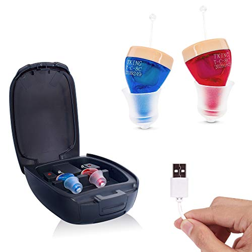 TKING Rechargeable Hearing Sound Amplifier for Seniors, Invisible in Ear Canal,Digital Noise Reduction Feedback Cancelling