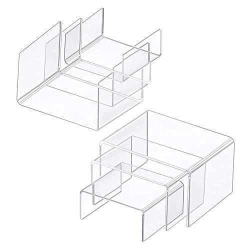 xutong 6 estantes de exhibición para Figuras, Expositor Metacrilato Soporte de Acrílico Transparente, Accesorios de Vitrinas Elevadoras de Exhibición de Joyas para Figuras, Esmalte de uñas y Joyas