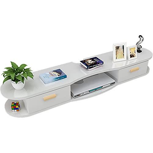 Mueble de TV Mesa Flotante,Unidad de TV Flotante Multifuncional, Estante de DecoracióN de Pared de Fondo de TV para Sala de Estar Dormitorio/A / 120cm