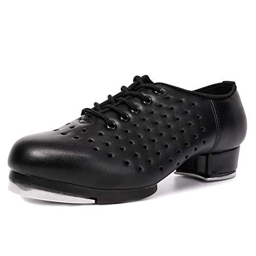 SWDZM Zapatos de Cuero para niñas y niñas Zapatos de Baile Jazz Tap Zapatos de Baile,WX-Tap,Negro,35EU