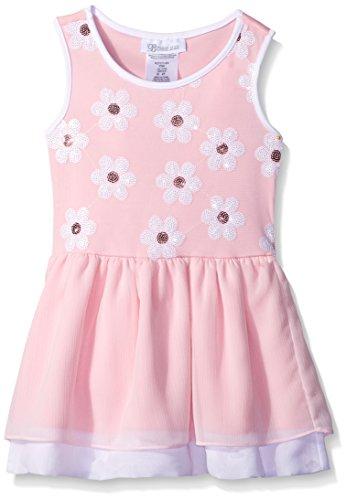 Bonnie Jean Little Girls' Toddler Knit Sequin Daisy Dropwaist Dress, Pink, 2T