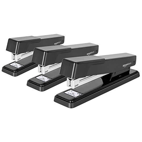 Amazon Basics Light Duty Metal Stapler, 20 Sheet Capacity - Black,3 pack