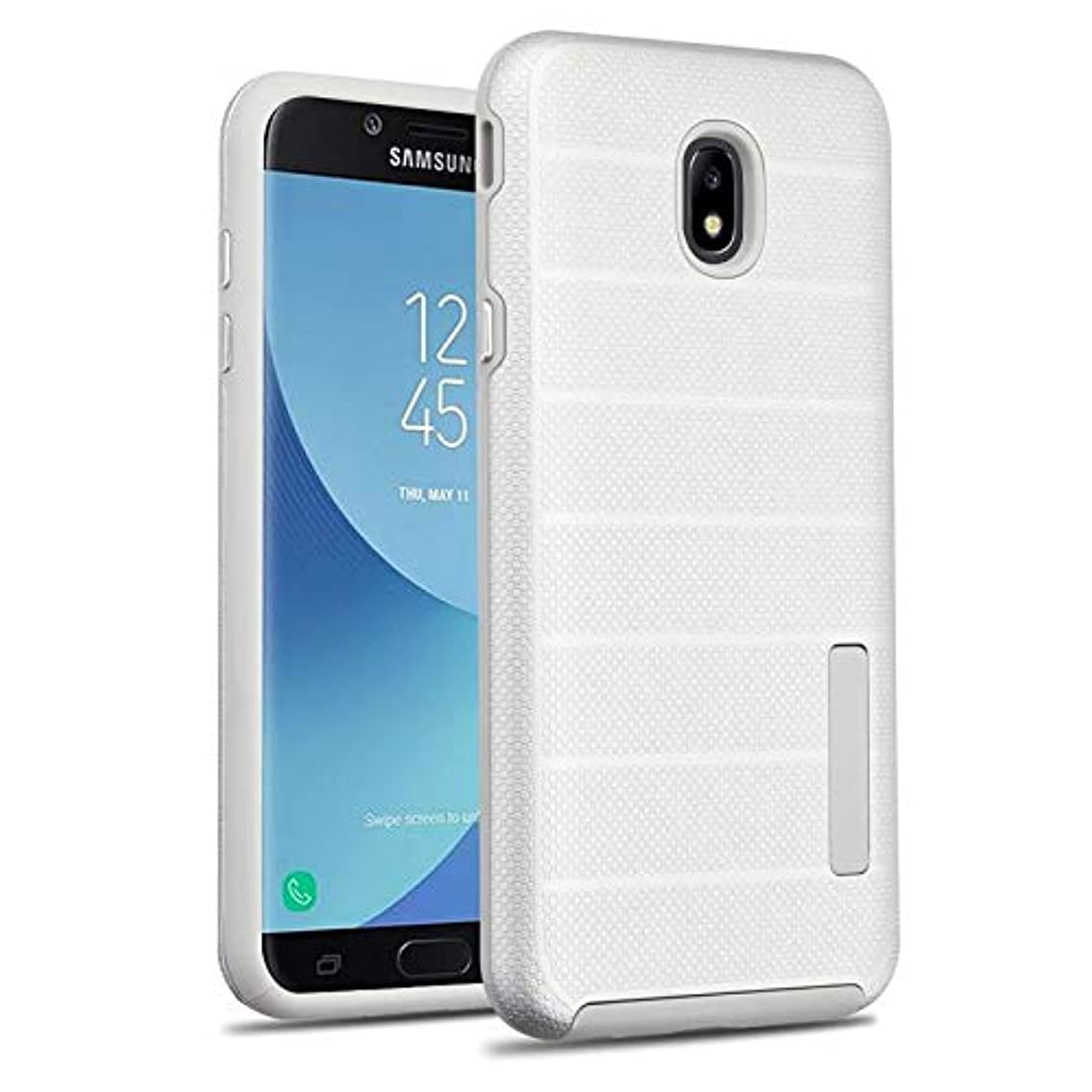 Insten Dots Textured Fusion Dual Layer [Shock Absorbing] Protection Hybrid PC/TPU Rubber Case Cover Compatible with Samsung Galaxy J7 (2018)/J7 Refine/J7 Star/J7 V 2nd Gen (2018), Silver/Gray njdnwck60