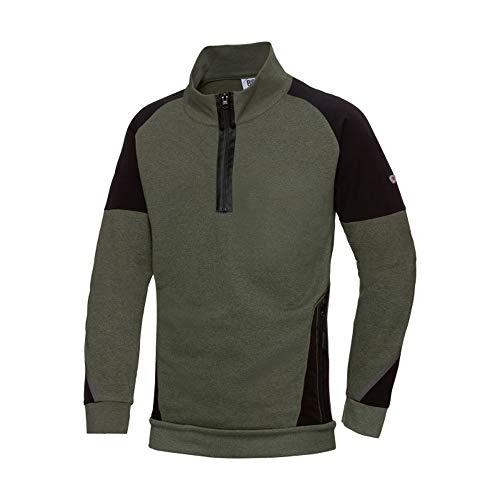 BP 1828-293-7332-4XL Herren-Sweatshirt mit halbem Reißverschluss, Lange Ärmel, hoher Kragen mit Reißverschluss, 280,00 g/m² Stoffmischung mit Stretch, oliv/schwarz, 4XL