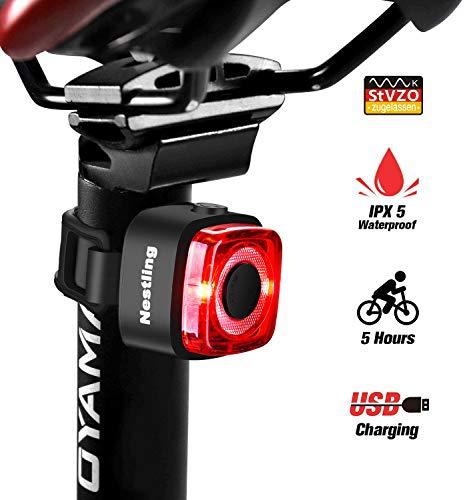 Nestling Fahrrad Rücklicht, StVZO Zugelassen Ultra Hell Fahrradrücklicht LED USB Aufladbar, Fahrradrücklicht Wasserdicht IPX5 akku LED Fahrrad Rücklicht für Radfahren, Camping, Wanderung,Rennrad MTB