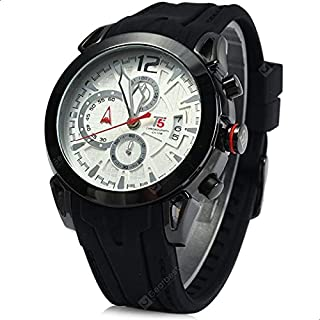 T5 H3391G-D Round Silicone Analog Watch for Men - Black