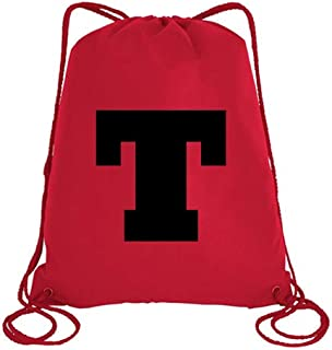 IMPRESS Drawstring Sports Backpack Red with Rockwell Letter T