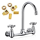 Commercial Kitchen Faucet, Favorpo 8 Inches Center Wall Mount Faucet with 8 Inches Swivel Spout, 2 Handle Wall-Mount Faucet for Utility Laundry Room Restaurant Sink