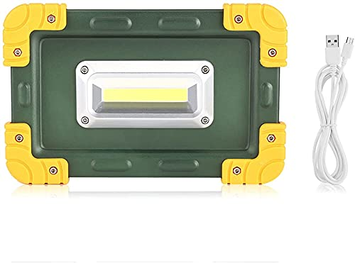 Camping Linterna Luz de Trabajo 3 0W USB COB LED Lámpara táctil Recargable portátil para Acampar (Color : Green)