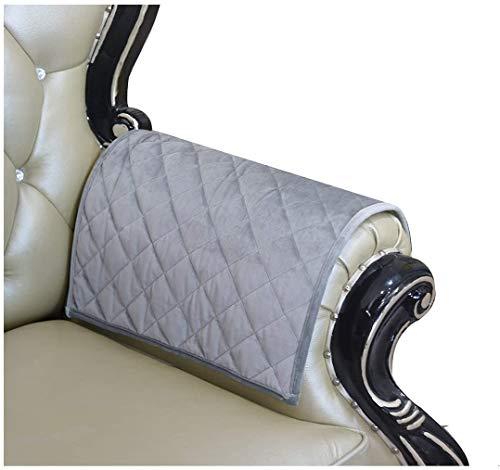 Zuodu Grey Velvet Sofa Arm Covers Sofa Arm Caps for Armchairs Non Slip Pair of Furniture Protector (Check Grey Velvet)