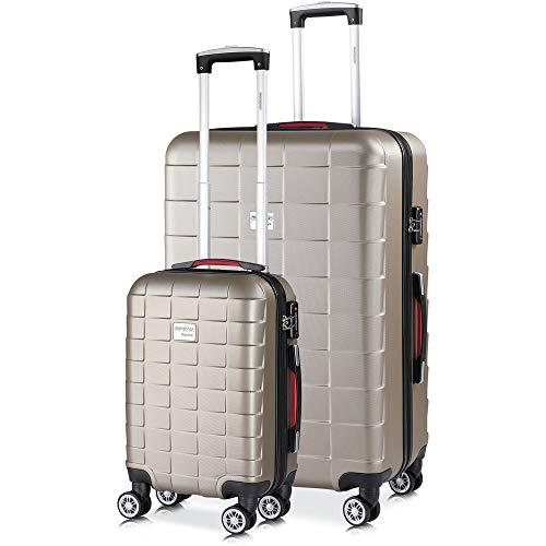 monzana® 2er Set Koffer Boardcase M, XL Gelgriffe TSA Schloss Reisekoffer Trolley Kofferset Handgepäck Champagner