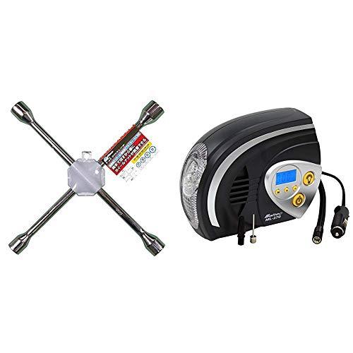 メルテック クロスレンチ ソケットサイズ:17/19/21/23mm F-65 + エアーコンプレッサー(自動車/バイク/自転車/ボール) 最高圧力:825kPa DC12V(ソケット) オートストップ機能・デジタル表示・LEDライト付 Meltec ML