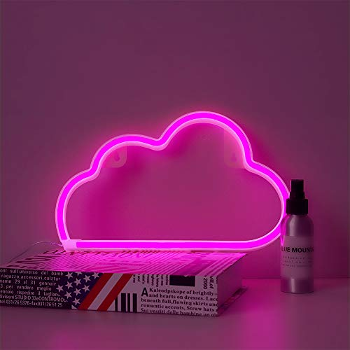 MYGOTO Pink Cloud Neon Signs,USB Charging/Battery LED Neon Light for Party Supplies, Girls Room Decoration Accessory, Table Decoration, Children Kids Gifts (Pink Cloud)