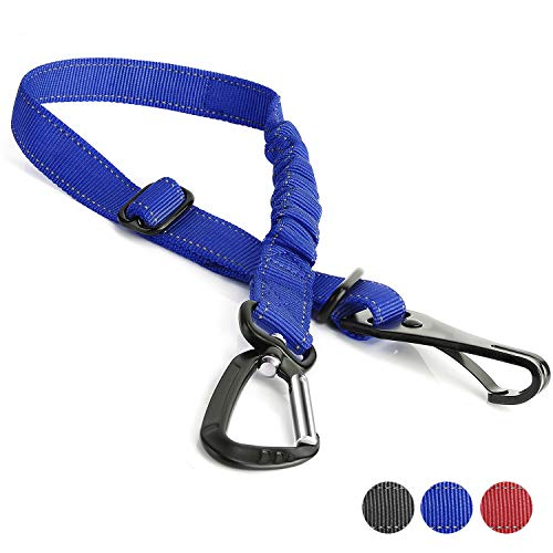 Toozey Dog Seatbelt, Adjustable Dog Car Seat Belt with Latch Bar Attachment and Tangle Free Carabiner, Elastic Pet Safety Belt Restraint, Seat Belts Tethers for Small, Medium and Large Dogs, Blue